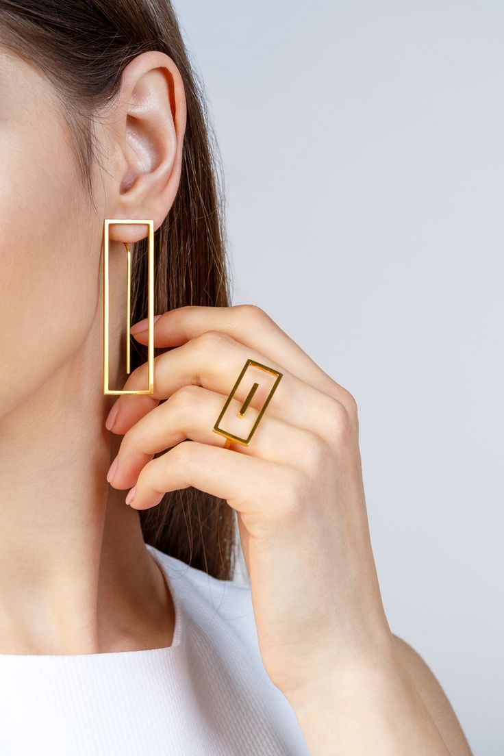 Minimalist Architectural Jewelry - Earrings and Ring in 18K Gold Plated Sterling...