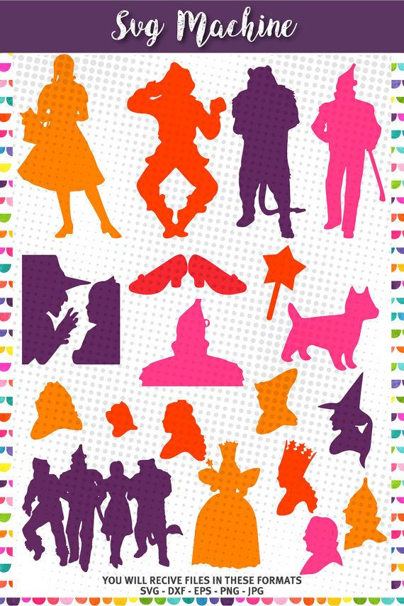 Wizard of Oz svg - Wizard of oz Silhouette – Inspired - Wizard of oz party - birthday – svg eps dxf png jpg vector file - wizard characters