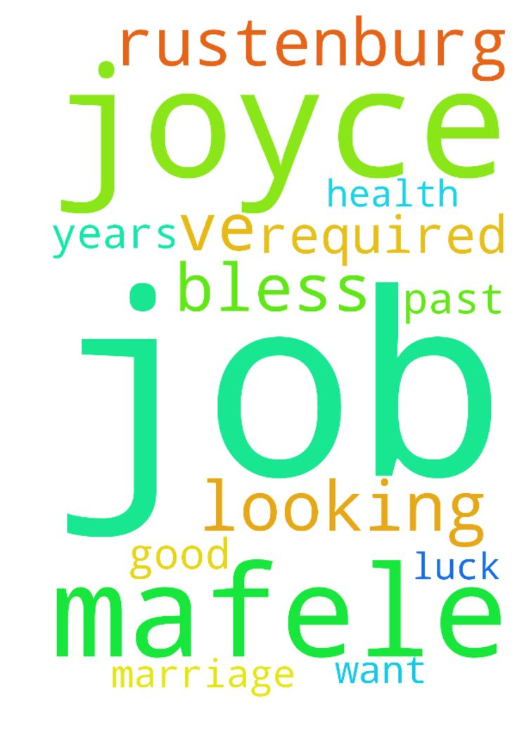 my name is Joyce Mafele, from - my name is Joyce Mafele, from Rustenburg, my prayer required I ve been looking for a job for the past 3 years but no luck, I want God to bless me with a job, good health and marriage. Thank you  Posted at: https://prayerrequest.com/t/nW9 #pray #prayer #request #prayerrequest