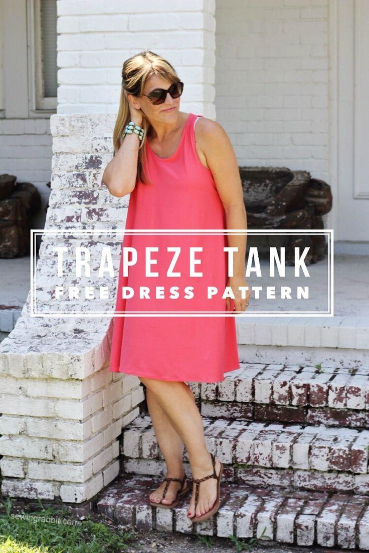 Trapeze Tank Dress Pattern {free} Get the fabric here: www.bandjfabrics.com