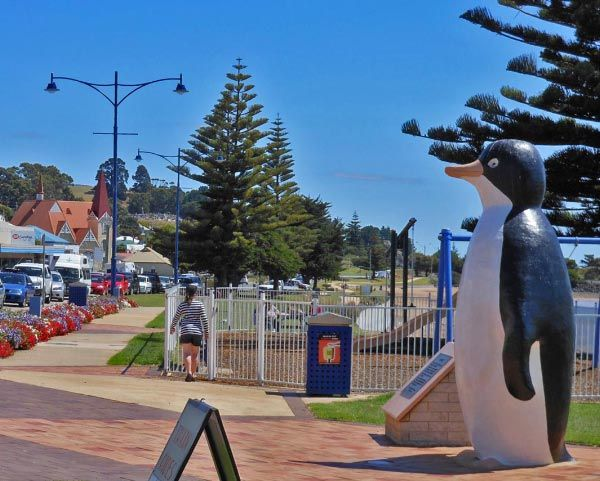 The big penguin statue in the town of Penguin, north west coast of Tasmania. The largest penguin in the world, and the most photographed statue in Tassie! (Article & photo by Michelle Kneipp-Pegler)