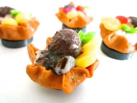 miniature ice cream dessert Chocolate with fruits hand by ByAzalea, 5.00