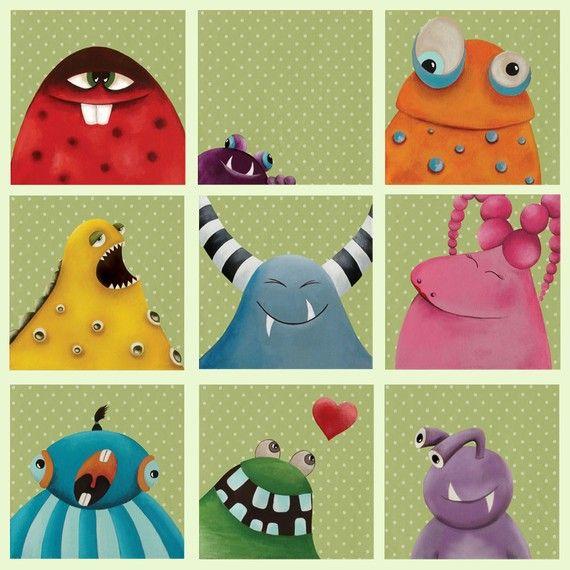 Nursery art print,nursery decor,baby nursery decor,etsy kids,kids art,kids room decor, 9 monster...sale...sale....sale
