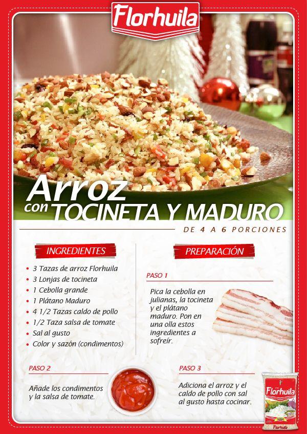 Disfruta de un delicioso Arroz con Tocineta y Maduro, perfecto para celebrar en familia.