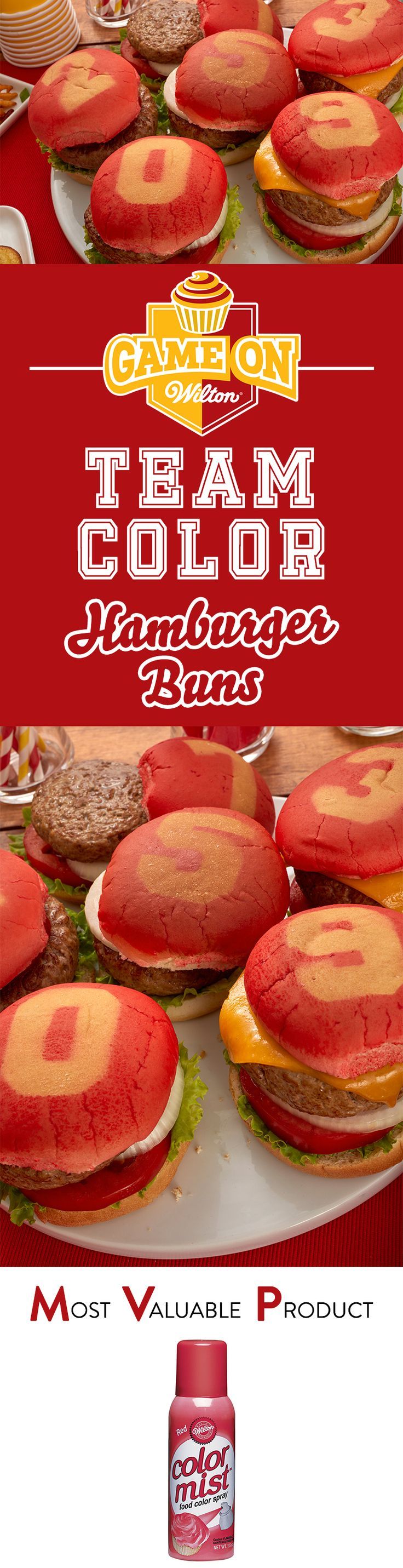 Impress your home team at any barbeque, tailgate, cookout or football party! Color your hamburger buns in your favorite team colors and numbers using Wilton Color Mist.