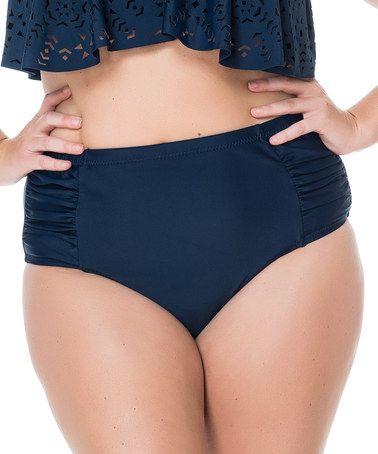 Love this Navy Shirred High-Waist Bikini Bottoms - Plus by Jessica Simpson Collection on #zulily! #zulilyfinds