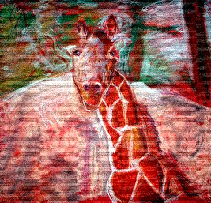 pastel of giraffe, 1996