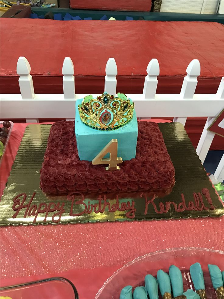 Kendall's Elena of Avalor Birthday Cake... Lowe's grocery store in Lexington,SC... I added the crown (party city) and the 4 (Michael's -spray-paint Walmart)