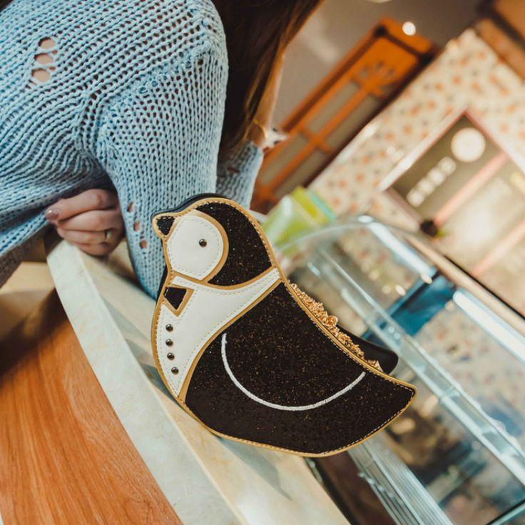 Cute Penguin Women Crossbody Bags Kawaii Animal with Sequins Shoulder Fashion Pack Bolsa Feminina Girls Leather Handbags