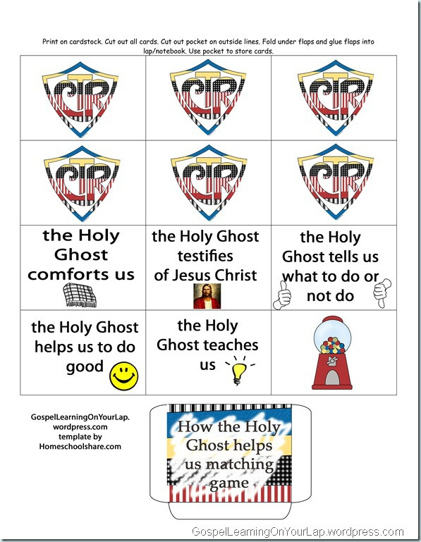 Holy Ghost Matching Game Lesson Handouts Or Helps The Holy Ghost Helps Me Coloring Page