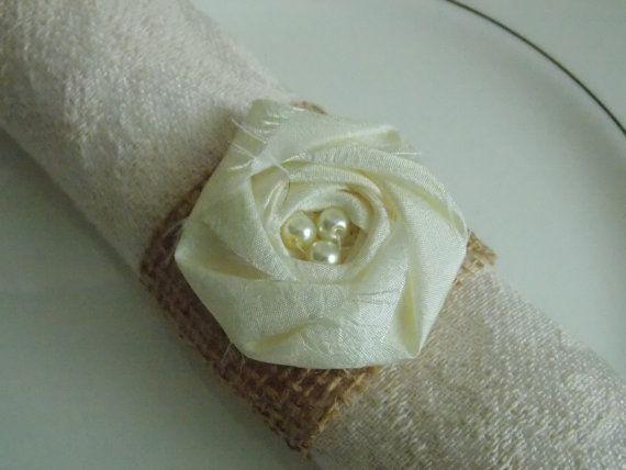 Ivory Wedding Decor Burlap Napkin Rings Burlap by bellerosedesigns