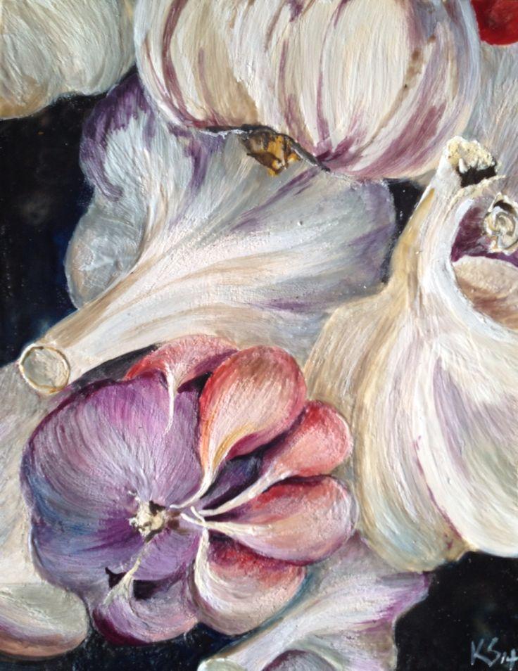 Encaustic painting of garlic