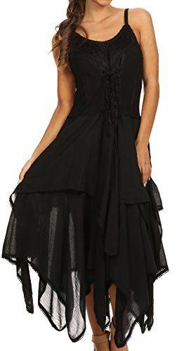 Sakkas 0131 Lady Mary Jacquard Corset Style Bodice Lightweight Handkerchief Hem Dress - Black - OSP Sakkas