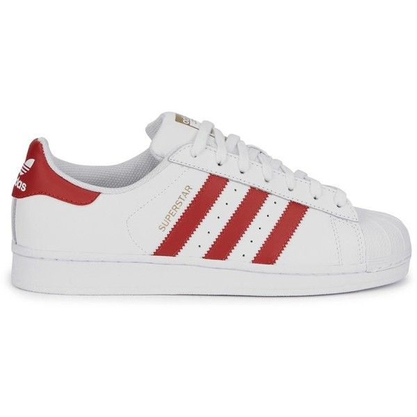 Womens Low-Top Trainers Adidas Originals Superstar White Leather... found on Polyvore featuring shoes, sneakers, adidas, zapatillas, white trainers, adidas originals trainers, leather lace up sneakers, white shoes and white low top sneakers