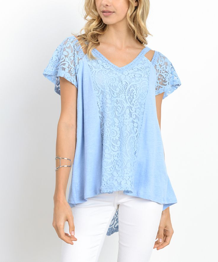 Blue Lace-Accent Short-Sleeve Top