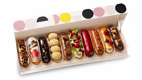 Exquisitely decorated french eclairs.
