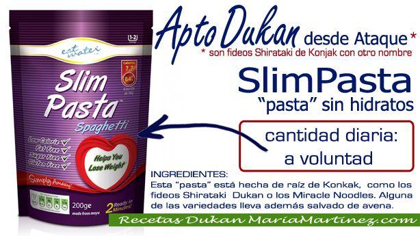 """SlimPasta, """"pasta sin hidratos"""": está hecha de raíz de konjac y es apta para la dieta Dukan desde fase Ataque (son fideos shirataki de Konjac). Aprende cómo se cocinan los fideos shirataki, aquí http://recetasdukanmariamartinez.com/category/4-nuevos-ingredientes/shiratakis-y-tallarimis-dukan/"""