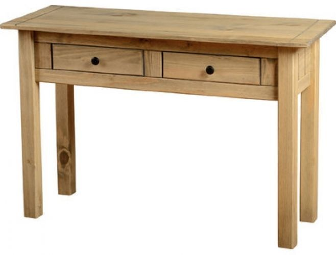 Wooden Console Table Hall Side Furniture Pine 2 Drawers Storage Living Room  NEW
