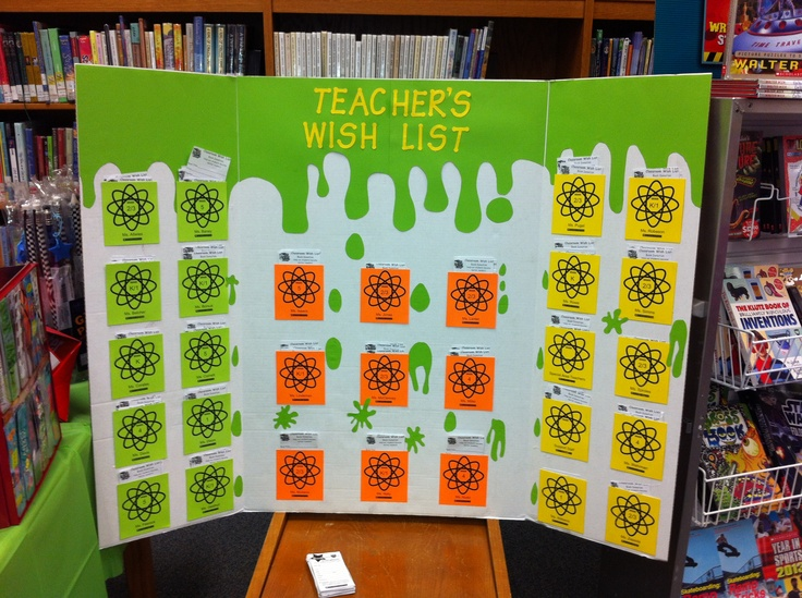 Classroom Wish List Ideas ~ Slime teacher wish list board for our story laboratory