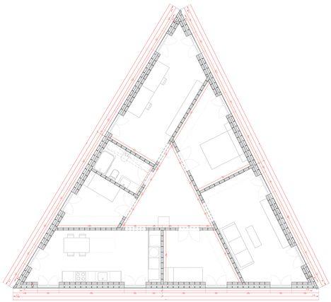 triangle, house, plan