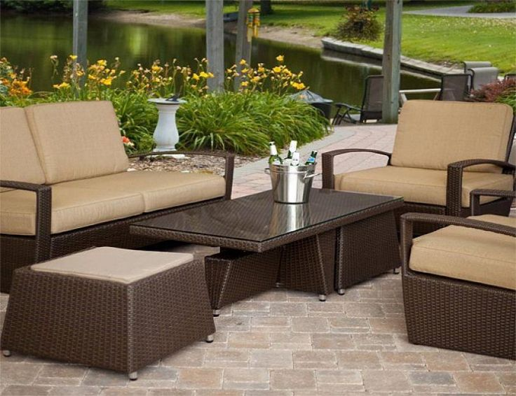 Outdoor Brown Conventional Varnished Wooden Conversation Set With Silver  Metal Bir Storage Also Cheap Patio Sets