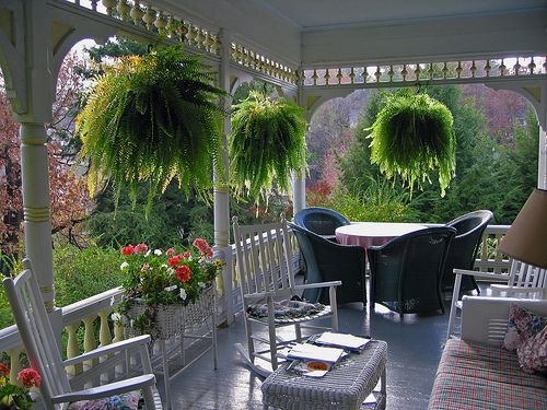 Southern porch-love the ferns and planters...so inviting!!