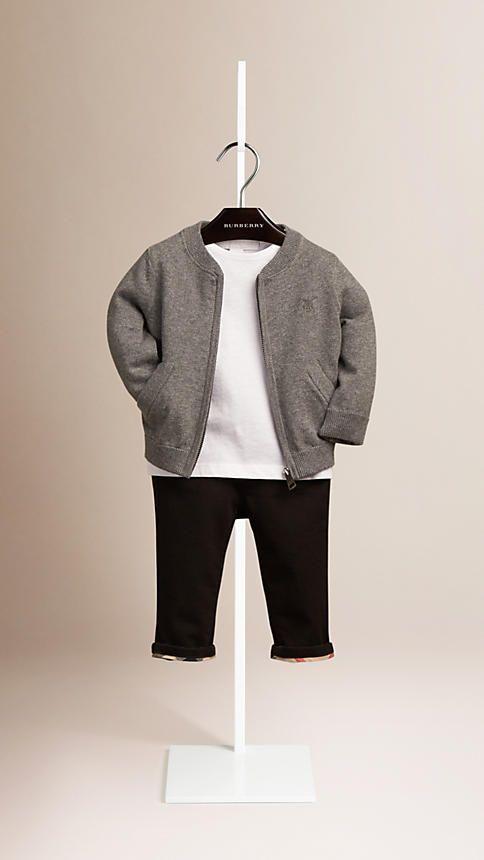 Mid grey melange Check Detail Cotton Cardigan Mid Grey Melange - Burberry