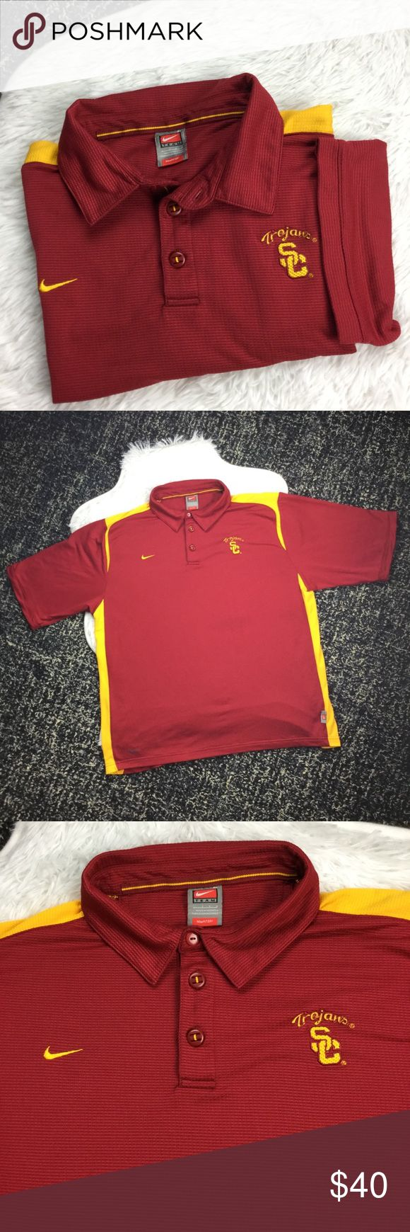"""NIKE Team Fit Dry USC Trojans Embroidered Polo Nike Team Fit Dry USC Embroidered Polo Shirt, Sz Large. Textured with three button closure. Nice embroidery details on front & back, great for game day! Has one tiny pinhole under a sleeve, not noticeable unless stretched. Measurements flat—chest: about 24.25"""", length: about 27.25"""". Smoke free home. No trades, please. Nike Shirts Polos"""