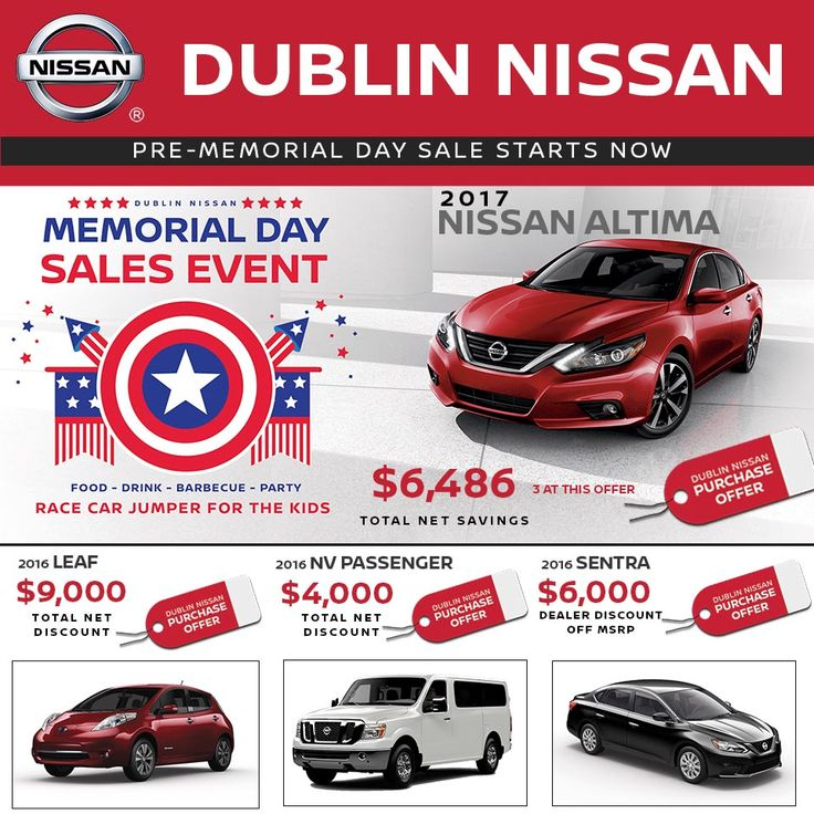 Memorial Day Savings Going Now At Dublin Nissan Come to Dublin Nissan and take advantage of incredible offers like these during our Memorial Day Sales Event going on now! We will have BBQ, A Race Car Jumper for your kids to play in and Great Sales Happening at Dublin Nissan! BBQ and Kids Jumper May 27th - 29th Savings Going On Now Browse our offers at http://dublinnissanoffers.com, stop by Dublin Nissan at 6450 Dublin CT Dublin, CA 94568 or call us at (877)796-5565 #memori