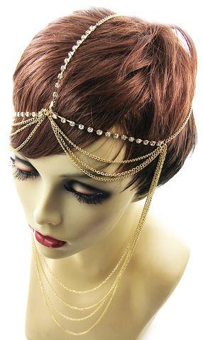 'ZETA' CRYSTAL DRAPE HEAD CHAIN - GOLD