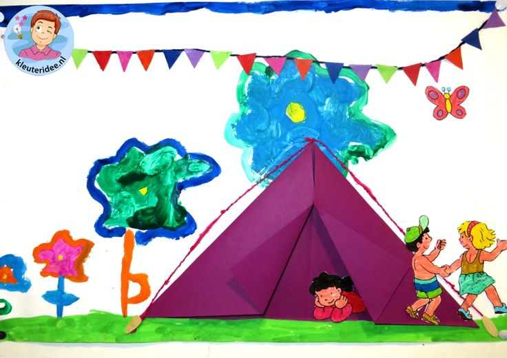 Collage thema camping 5 met kleuters, kleuteridee, voor free printables zie de website.