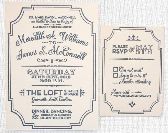 Vintage Art Deco Gatsby Letterpress Wedding Invitation, Grey, Cream, Kraft Paper, Cork, Rustic