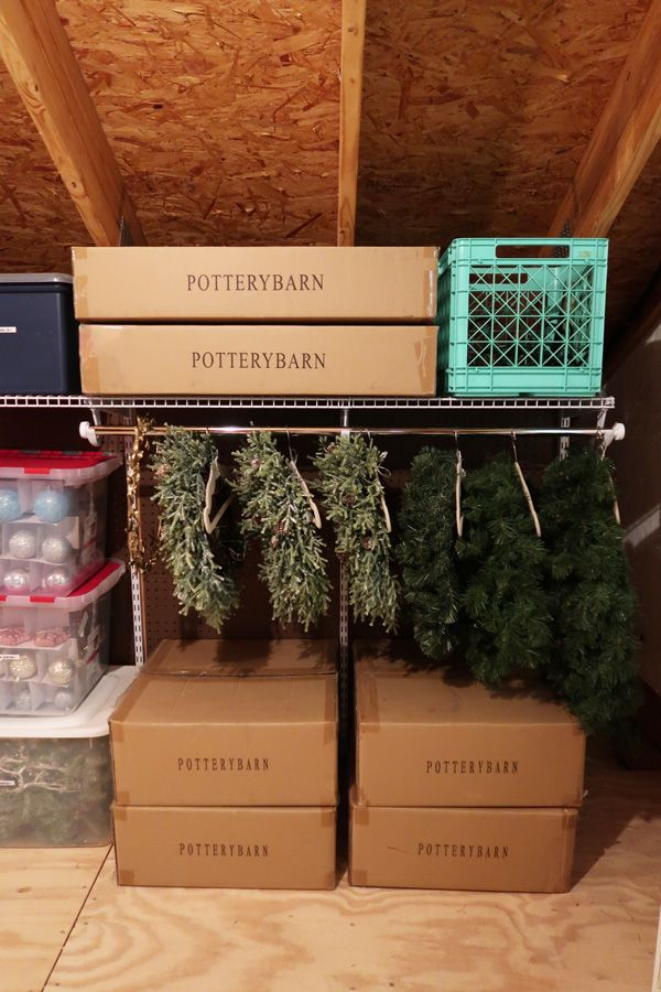 Creative Solution To Store Christmas Wreaths Attic Storage Organization Attic Storage Christmas Decoration Storage