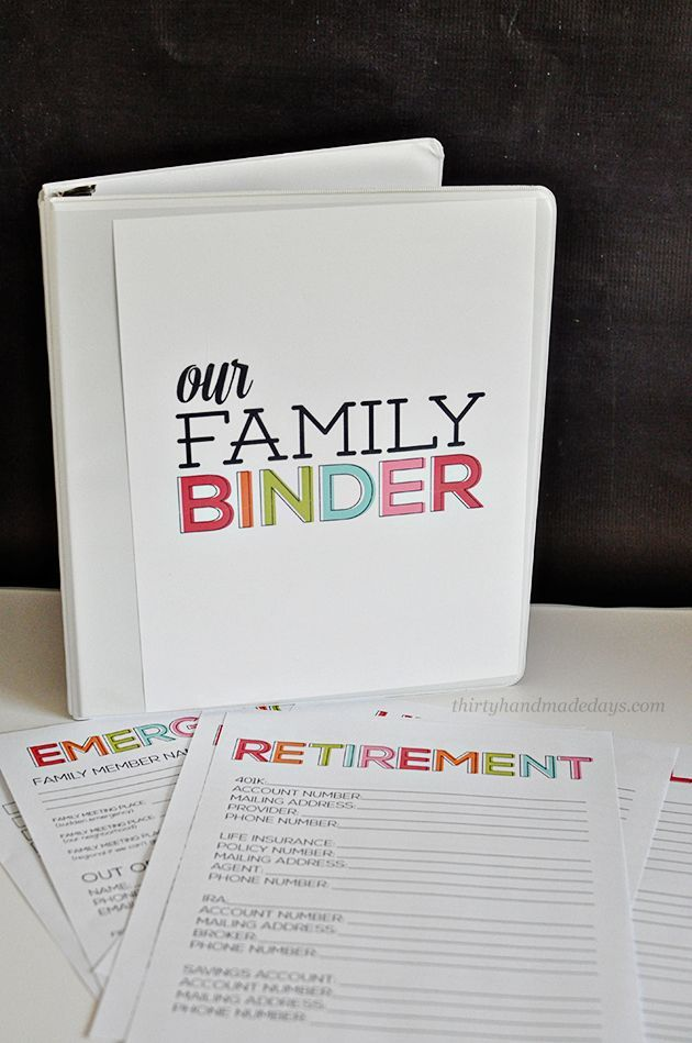 Updated Family Binder Printables- 8 amazing printables to help you create a binder for all of your most important information!