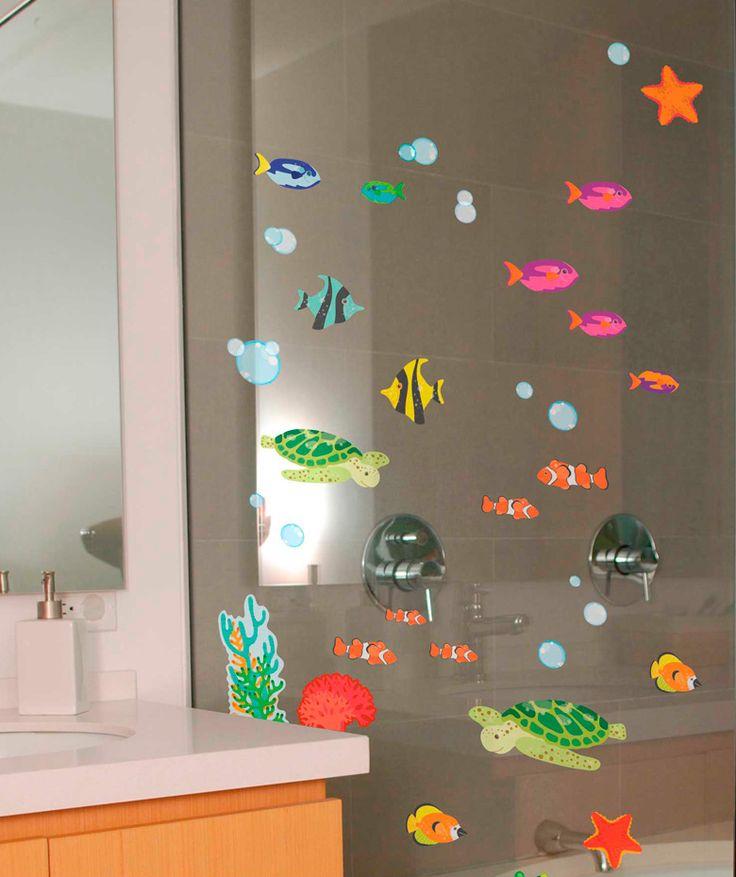 Eco mar animales marinos vinilo adhesivo para vidrio for Banos decorativos
