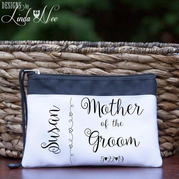 Personalized Mother of the Groom Cosmetic Wedding Bag, Bridal Party Bag,Bride Makeup Bag, Mother of the Groom Gift Bag, Toiletry Bag CBP1