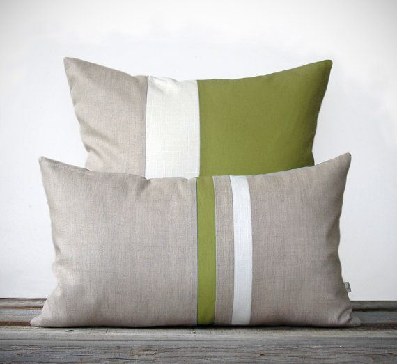 :: NEW SET :: This beautiful set includes (1) 12x20 striped pillow cover in olive, cream and natural linen and (1) 20x20 color block pillow cover in olive, cream and natural linen. This signature set will make the perfect accent on a chair, sofa, window seat or bed. They would also make a perfect housewarming gift too!  Original design by artist and interior designer, Jillian Carmine.  ------------------------------------------------------------------------------------------------------ For…