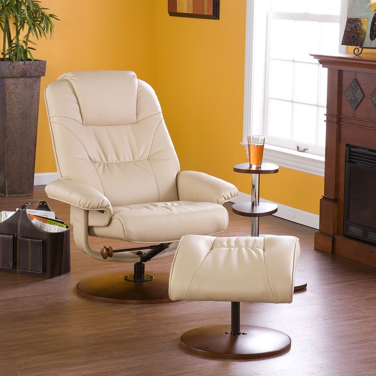 Add A Stylish Taupe Leather Recliner And Ottoman To Your Living Room Or  Office. Its