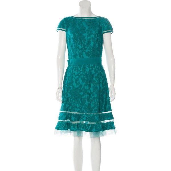 Pre-owned Tadashi Shoji Lace A-Line Dress (155 CAD) ❤ liked on Polyvore featuring dresses, blue, bateau neckline dress, blue dress, boat neck a line dress, blue boat neck dress and tadashi shoji dresses