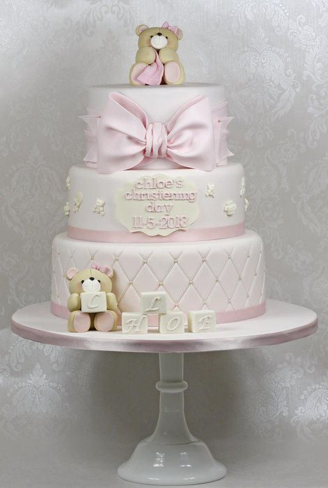 I made this cake for a large christening party at the weekend. The customer asked for a soft pink palette with some baby themed motifs, teddies and blocks. I was really pleased with the end result.