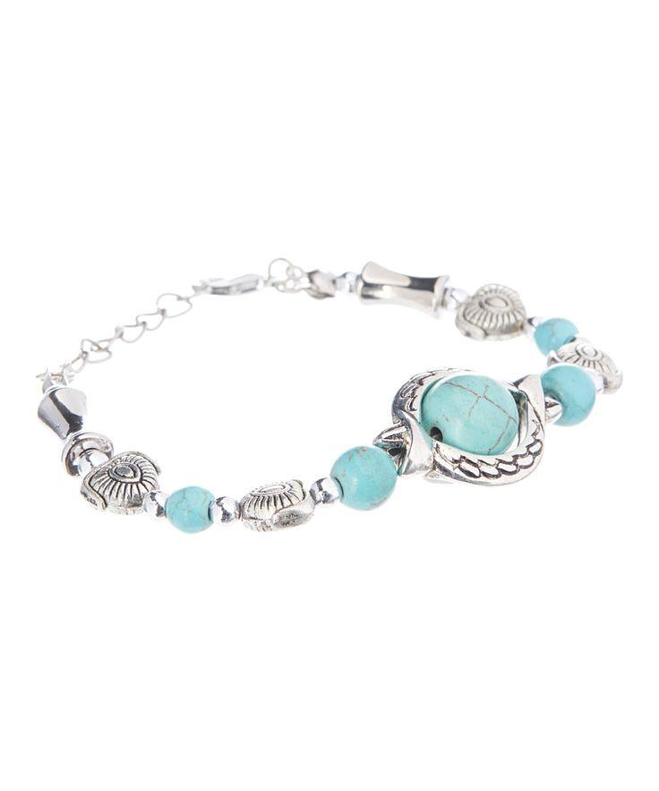 Faux Turquoise & Silvertone Blue Surf Retro Bracelet
