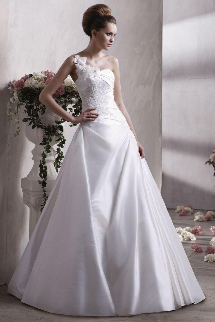 Ball Gown One Shoulder Taffeta Bridal Lique On Wedding Dress