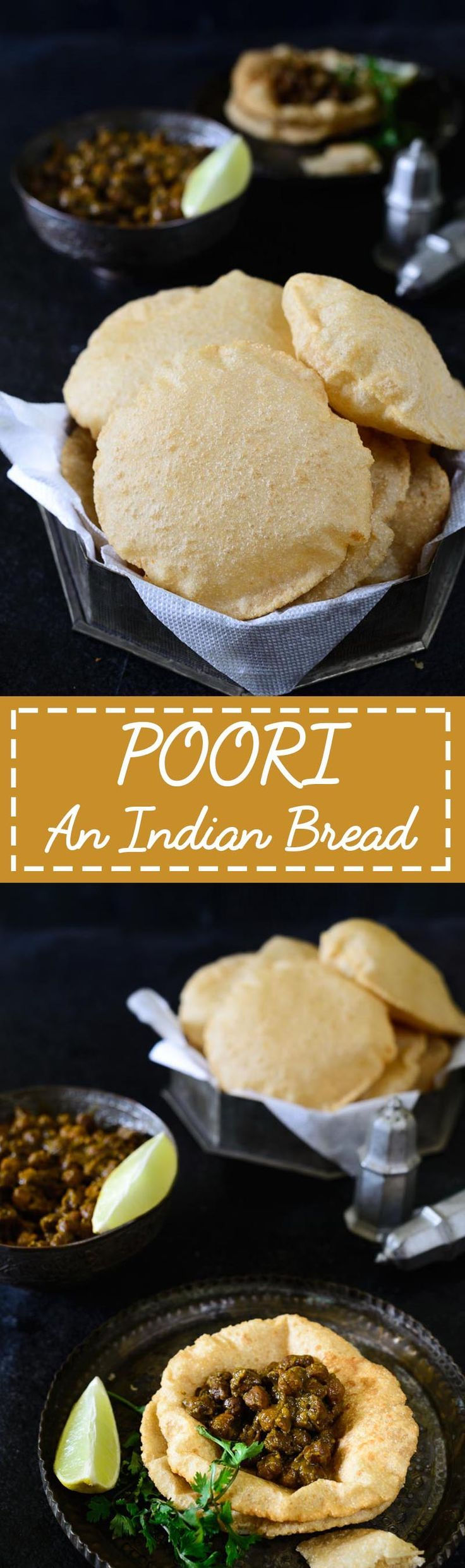 Tips and tricks on how to make perfect poori, a deep-fried puffed Indian bread, every time you make it with step by step instructions. Indian I Bread I Recipe I Puffed I Vegan I Easy I Simple I Traditional I Authentic I Food I Homemade