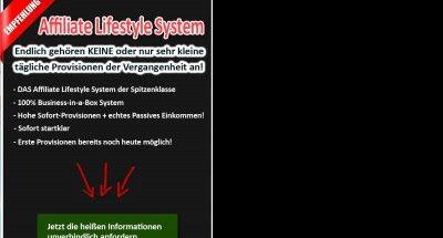 Affiliate Marketing funktioniert .... jedoch nur mit System!  .. laut einer aktuellen Affiliate-Umfrage der Agentur Projecter aus Leipzig verdienen 21% der Affiliates mehr als 3.000 EUR im Monat.   Hier findest Du das genialste Affiliate Lifestyle System, das Du aktuell finden kannst