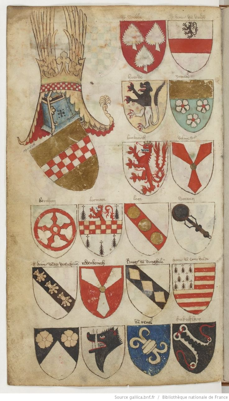 Paris, BnF, ms. fr. 5230  The Bellenville armorial dates from the late 14th century. Author and commissioner are unknown, but the text is written in Dutch, therefore it was probably made somewhere in the historical Netherlands. The armorial consists of two parts. The first part contains coats of arms of European nobles structured by lords. The second part seems to be a collection of occasional rolls of arms of tournaments, military campaigns or the Prussian voyages.