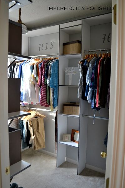 His and hers closet... Kind of what I'm looking for, but I want mine more fancy. LOL.