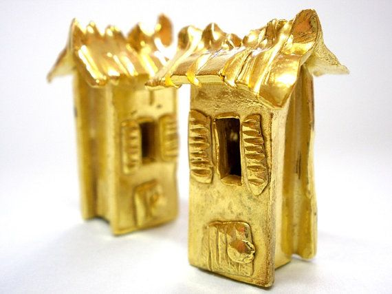 Gold Plated Bronze Handmade Microsculpture House Pendant