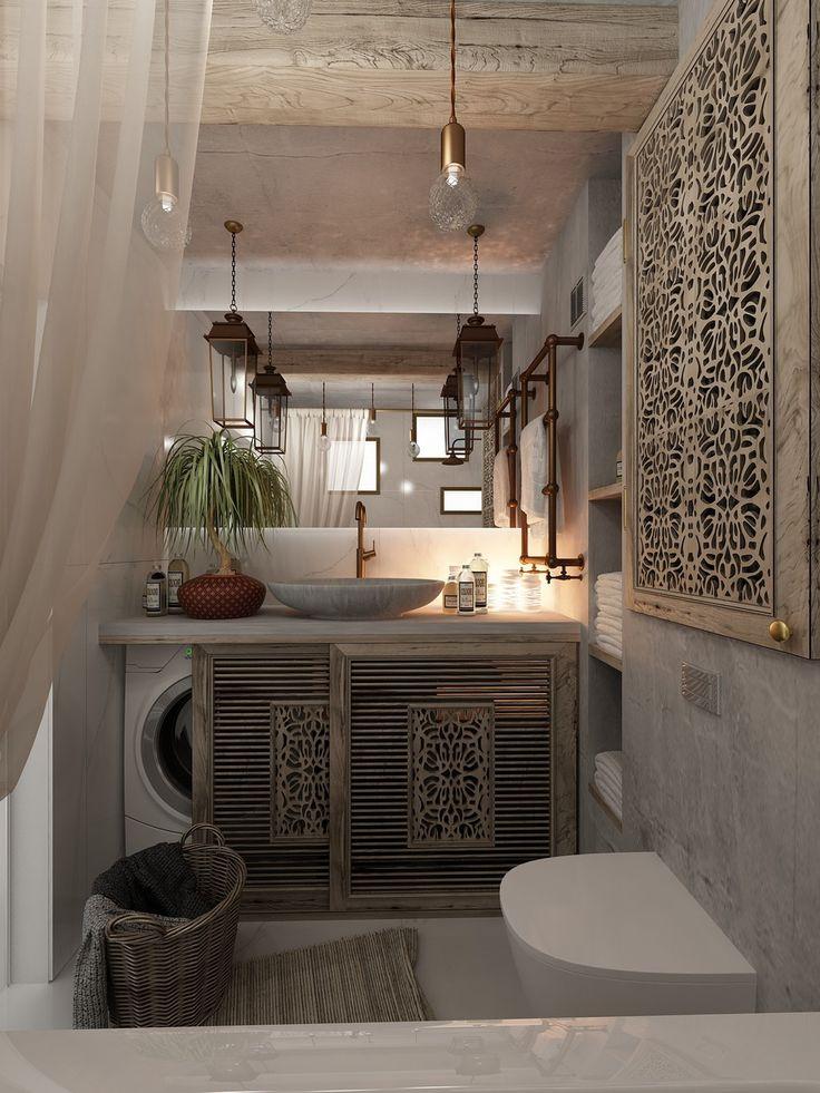łazienka,zasłonięta pralka pięknym przesuwanym drewnianym ornamentem
