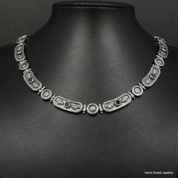 Natural Garnet Necklace Byzantine Style 925 by IreneGreekJewellery