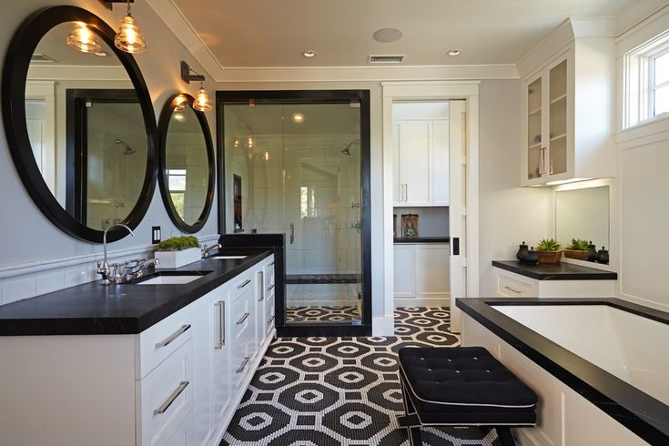 Using Black And White Bathroom for Interior Design: Black And White Bathroom With Recessed Lighting Also Black Mirror Frames And Crown Molding With Double Vanity Also Glass Shower Doors And Wall Sconces Plus Rain Shower Head For Transitional Bathroom